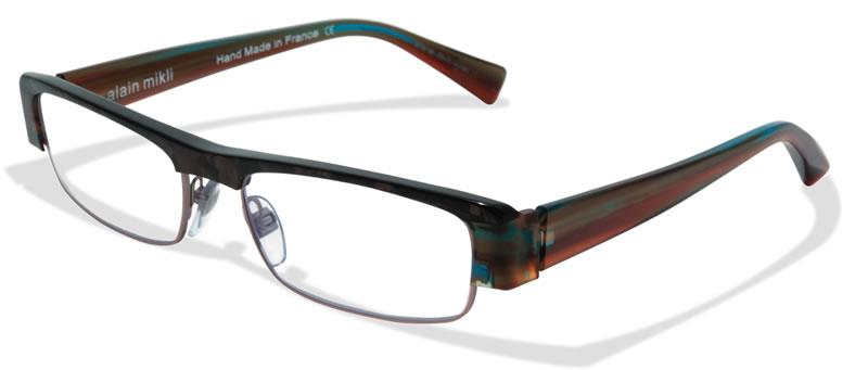 Glasses Frame Made In France : 615USD New ALAIN MIKLI Made in France Brown & Green Frame ...